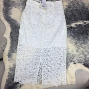 BCBG White Eyelet Lace Skirt NWT 0